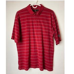 Tiger Woods  large Red stripes Polo/ Golf Shirt